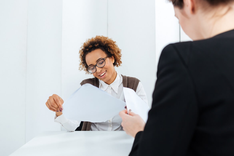 smiling african american business woman having job